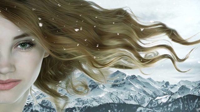Zima, devojka, planine
